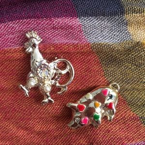 Pig and rooster pins